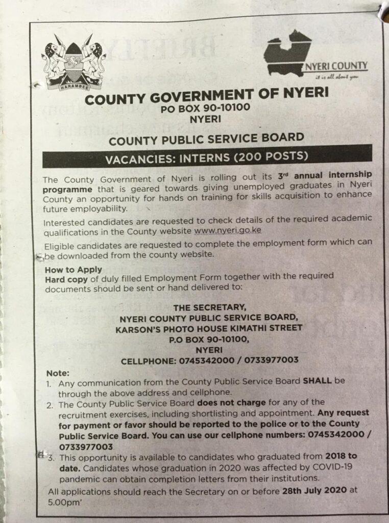 county government of nyeri internship